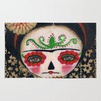 Frida The Catrina And The Skull - Dia De Los Muertos Mixed Media Art Rug