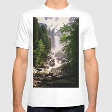 Yosemite Waterfall SMALL Mens Fitted Tee White