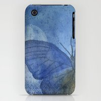 iPhone 3Gs & iPhone 3G Cases featuring Inky Butterfly Deep Blue Shabby by Sweet Harmony Photography
