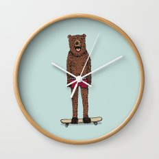 Bear + Skateboard Wall Clock