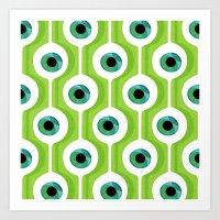 Eye Pod Green Art Print