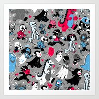 Alt Monster March (Gray) Art Print