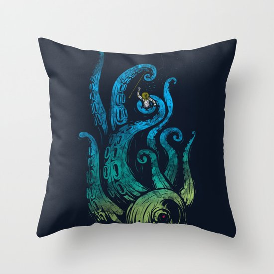 Undersea attack (neon ver.) Throw Pillow