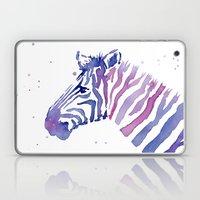 Zebra Watercolor Purple Stripes Laptop & iPad Skin