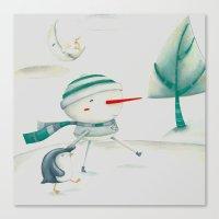 Snowman and friend Canvas Print