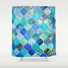 Cobalt Blue, Aqua & Gold Decorative Moroccan Tile Pattern Shower Curtain