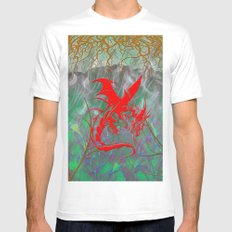 Phoenix Flame SMALL White Mens Fitted Tee
