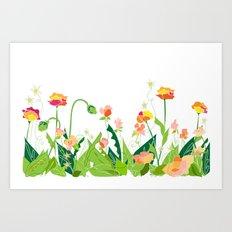 Modern Wildflower Garden - White Background Art Print