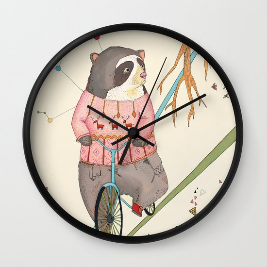 Bear in bicycle Wall Clock