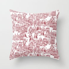Doctor Who Toile de Jouy | 'Walking Doodle' | Red Throw Pillow