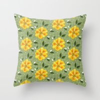 Abstract Yellow Primrose Flower Throw Pillow