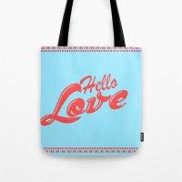 Hello, love   Typography Tote Bag
