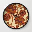 Boho Flowers Wall Clock