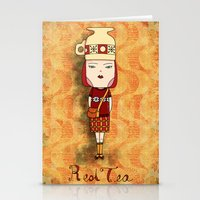 Red Tea Girl Stationery Cards