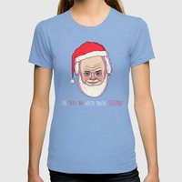 He Sees You When You're … Womens Fitted Tee Tri-Blue SMALL
