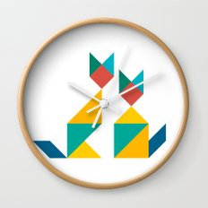 Tangram Cats 1 Wall Clock
