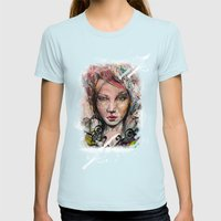 Portrait Womens Fitted Tee Light Blue SMALL