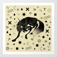 wolf Art Prints featuring Wolf by Anna Volk