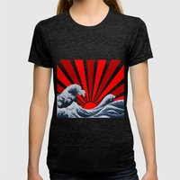 Great Wave Of The Rising… Womens Fitted Tee Tri-Black SMALL