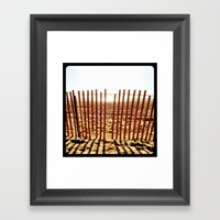 Fence In The Sand. Framed Art Print