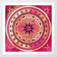Raspberry Mandala Art Print