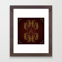 Letter A Seahorse Framed Art Print