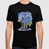 Hydrangea painting Mens Fitted Tee Black SMALL