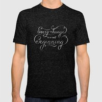 Every change is a New Beginning Mens Fitted Tee Tri-Black SMALL