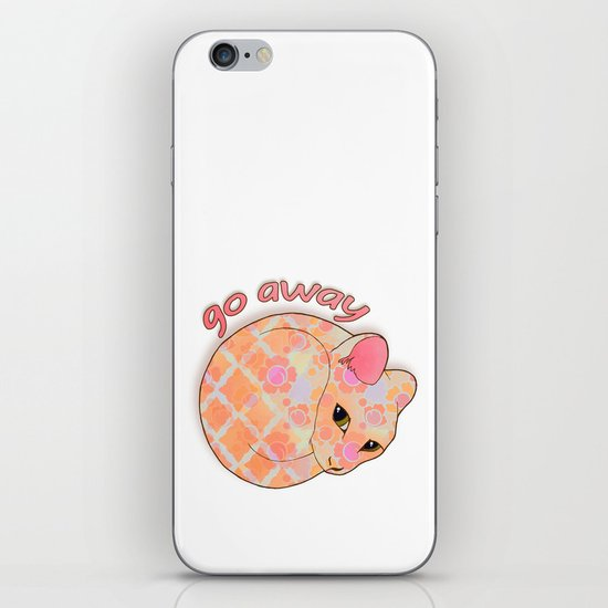 Go Away - Patterned Cat Illustration  iPhone & iPod Skin