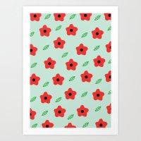 Poppies & Leaves Art Print