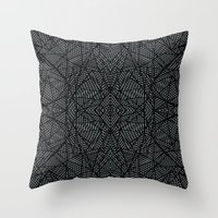 Ab Lace Black and Grey Throw Pillow