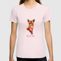 Cute Little Red Fox water colour ink Womens Fitted Tee Light Pink SMALL
