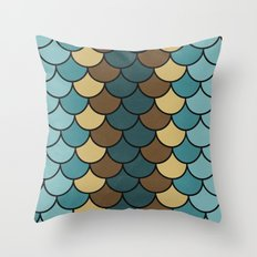 Shelled Teal Throw Pillow