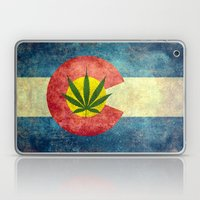 Retro Colorado State flag with the leaf - Marijuana leaf that is! Laptop & iPad Skin