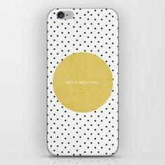 GREEN HELLO BEAUTIFUL - POLKA DOTS iPhone & iPod Skin