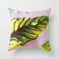 big green leaf Throw Pillow