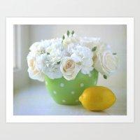 Polka Dots And A Lemon Art Print