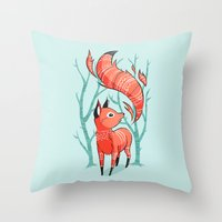 Winter Fox Throw Pillow
