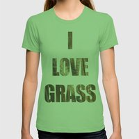 Blowing in the wind. Womens Fitted Tee Grass SMALL