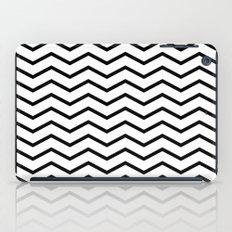 Black Chevron On White iPad Case