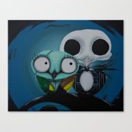 Canvas Print featuring The Owl Jack And Sally by Annelies202