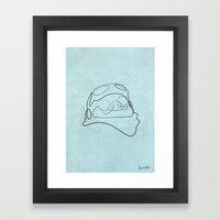 One line Porco Rosso (blue) Framed Art Print