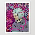 Man in Helmet Art Print