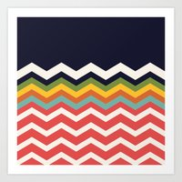 Retro Chevrons (salmon and navy) Art Print