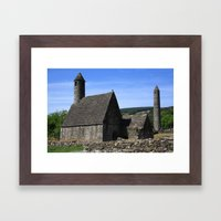 St Kevins Church And Round Tower Framed Art Print