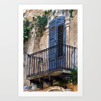 Blue Sicilian Door on the Balcony Art Print
