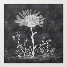 Flowers On Chalkboard Canvas Print
