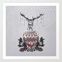 CHRISTMAS DEER (by Nika … Art Print