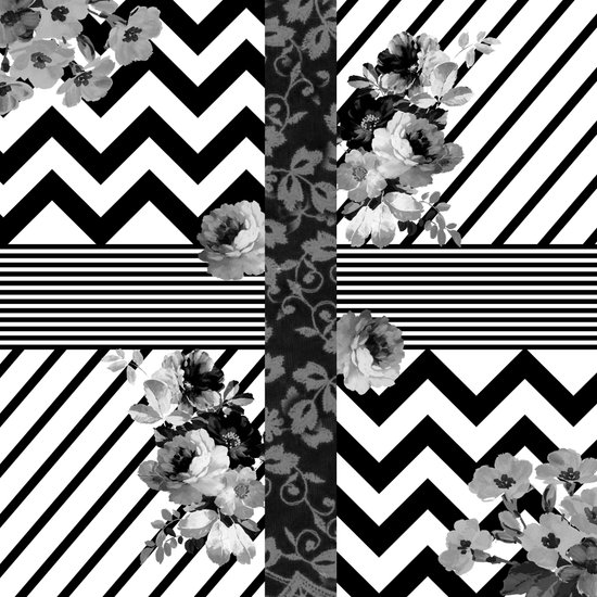 Trendy Black and White Floral Lace Stripes Chevron Art Print