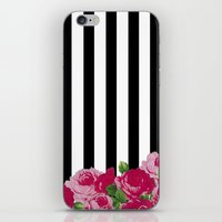 Bold Stripes with Flowers iPhone & iPod Skin